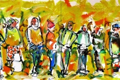 Clifford Charles, Long Queue of people waiting, aquarel, Zuid-Afrika
