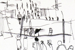 Clifford Charles,  South Arican artists, small drawing, Kliptown, 2009