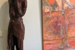 Beeld door Noria Mabasa en schilderij van Eric Lubisi, Zuid-Afrika