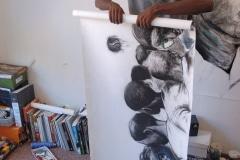 bij Nelson Makamo, uitkiezen en inkopen voor Galerie iZArte, 2009, Zuid-Afrika
