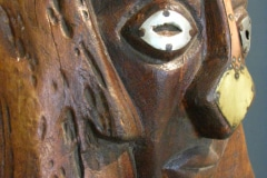 Lucky Makamu,  wood sculptor,  detail of big art bench with head, Limpopo